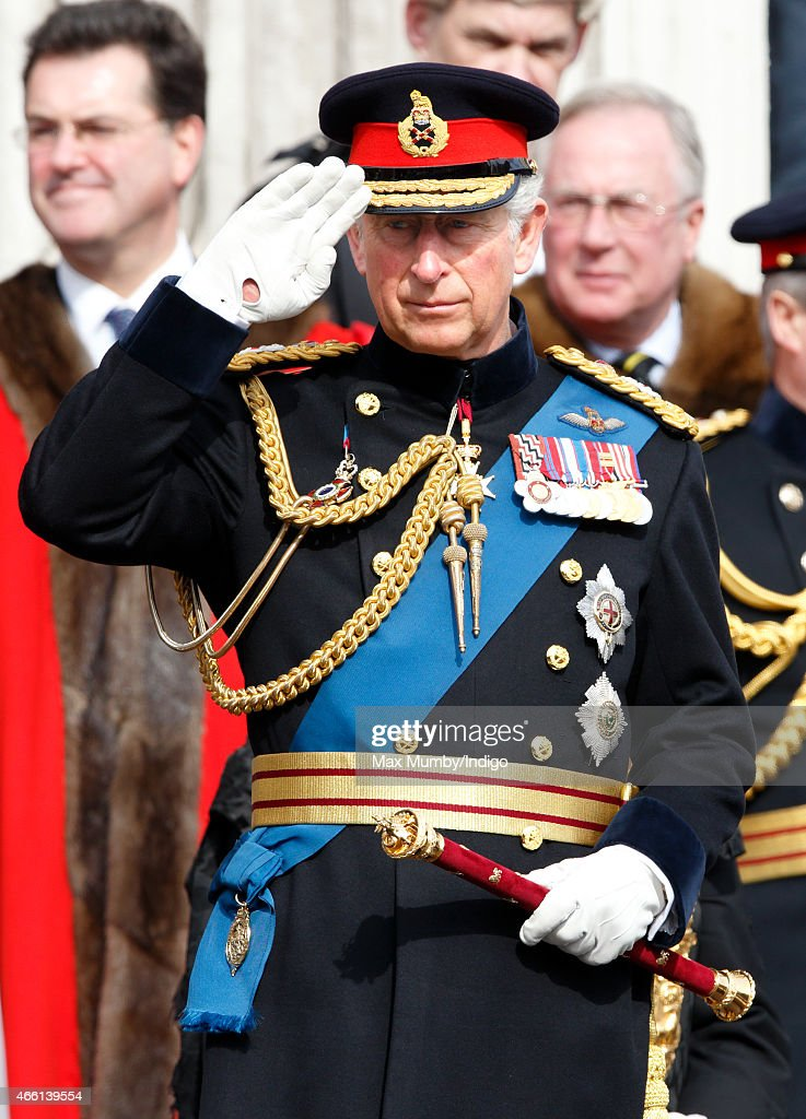 Prince Charles, Prince of Wales takes the salute as he attends a Service of Commemoration to mark the end of combat operations in Afghanistan at St Paul's Cathedral on March 13, 2015 in London, England.