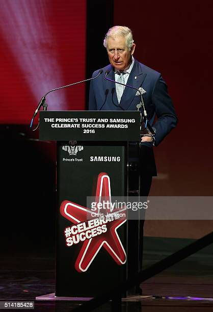 Prince Charles Prince of Wales talks on stage during the Prince's Trust Celebrate Success Awards at the London Palladium on March 7 2016 in London...