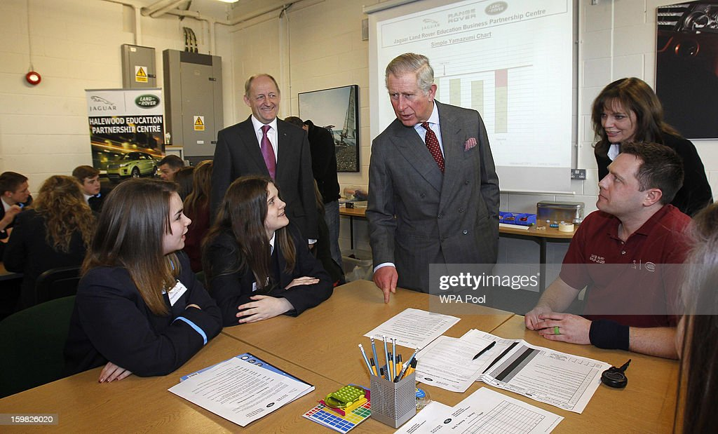 <a gi-track='captionPersonalityLinkClicked' href=/galleries/search?phrase=Prince+Charles&family=editorial&specificpeople=160180 ng-click='$event.stopPropagation()'>Prince Charles</a>, Prince of Wales talks to pupils from All Saints secondary school during a visit the Jaguar Land Rover Education Centre on January 21, 2013 near Wilmslow, Merseyside, England. <a gi-track='captionPersonalityLinkClicked' href=/galleries/search?phrase=Prince+Charles&family=editorial&specificpeople=160180 ng-click='$event.stopPropagation()'>Prince Charles</a> is carrying out a series of engagements in the North West to celebrate British manufacturing and engineering.