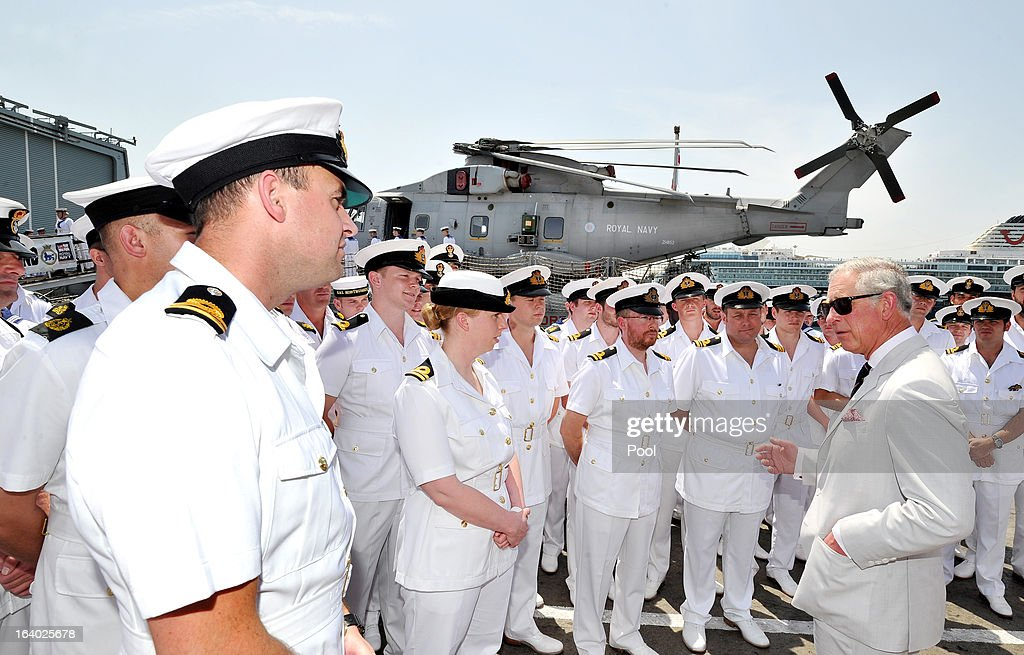 <a gi-track='captionPersonalityLinkClicked' href=/galleries/search?phrase=Prince+Charles&family=editorial&specificpeople=160180 ng-click='$event.stopPropagation()'>Prince Charles</a>, Prince of Wales talks to Royal Marine Commandos aboard HMS Northumberland, who have been fighting pirates, gun and drug runners in the Indian Ocean, during a visit to the Type 23 Frigate, docked in the port on March 19, 2013 in Muscat, Oman. The Royal couple are on the fourth and final leg of a tour of the Middle East taking in Jordan, Qatar, Saudia Arabia and Oman.