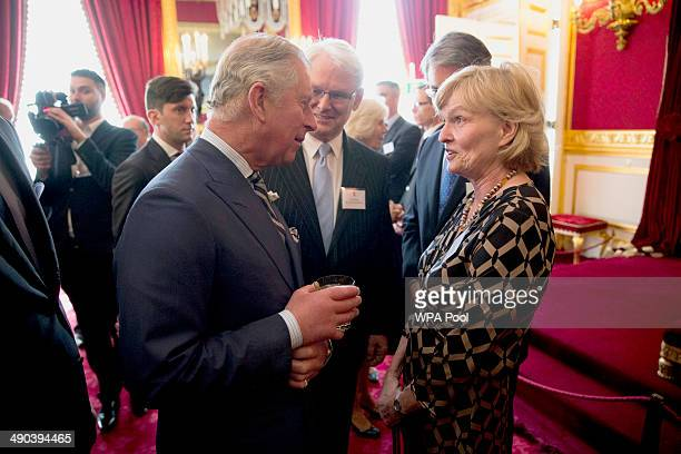 Prince Charles Prince of Wales talks with Canadian author and Oxford University professor Margaret MacMillan during a reception for Canadians living...