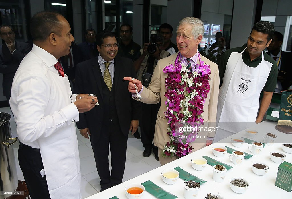 Prince Charles, Prince of Wales tastes different types of tea as he visits the Mackwoods Labookellie Tea Estate on Day 3 of a visit to Sri Lanka on November 16, 2013 in Nuwara Eliya, Sri Lanka. The Royal couple are visiting Sri Lanka in order to attend the 2013 Commonwealth Heads of Government Meeting.Prince Charles, representing the Queen will open the meeting.