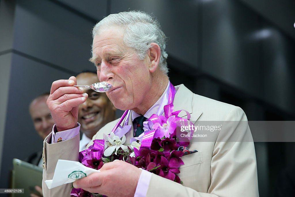 Prince Charles, Prince of Wales tastes different types of tea as he visits the Mackwoods Labookellie Tea Estate on Day 3 of a visit to Sri Lanka on November 16, 2013 in Nuwara Eliya, Sri Lanka. The Royal couple are visiting Sri Lanka in order to attend the 2013 Commonwealth Heads of Government Meeting. Prince Charles, representing the Queen will open the meeting.