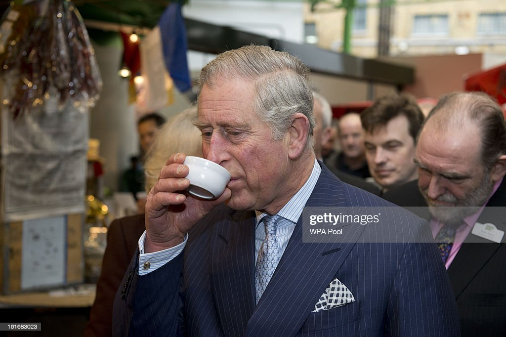 <a gi-track='captionPersonalityLinkClicked' href=/galleries/search?phrase=Prince+Charles&family=editorial&specificpeople=160180 ng-click='$event.stopPropagation()'>Prince Charles</a>, Prince of Wales tastes some olive oil during a visit to Borough Market on February 13, 2013 in London, England.