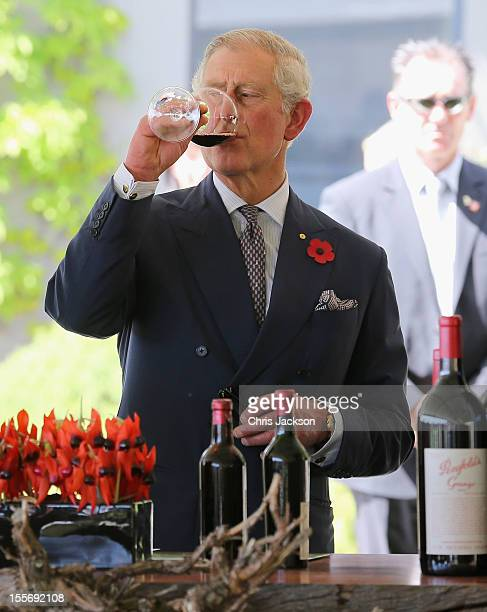 Prince Charles Prince of Wales tastes wine at the Penfolds Magill State Winery on November 7 2012 in Adelaide Australia The Royal couple are in...