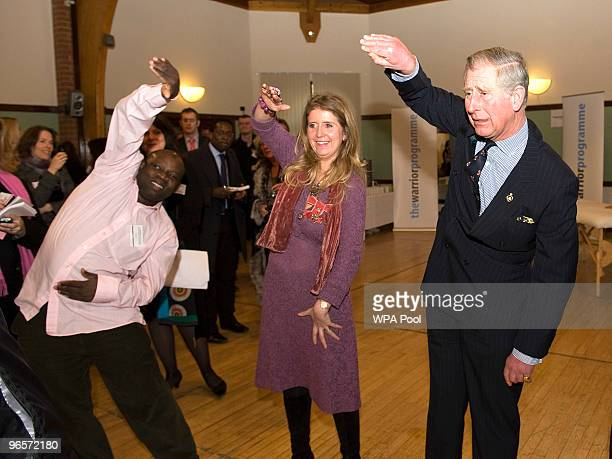 Prince Charles Prince of Wales tries his hand at Chi Kung an energy harnessing form of Martial Art during his visit to the Warrior Programme at the...