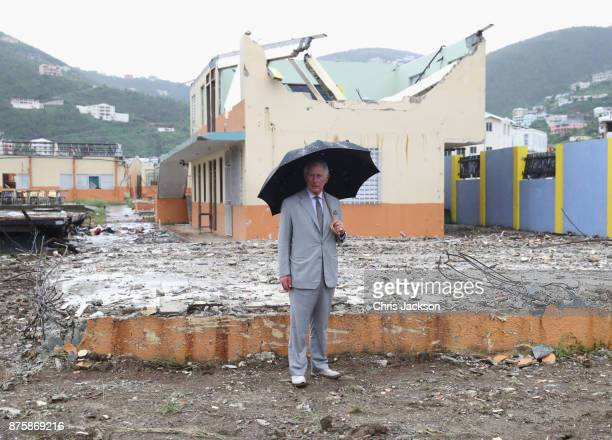 Prince Charles Prince of Wales view the destroyed landscape left by the hurricane on November 18 2017 in Antigua and Barbuda The Prince of Wales is...