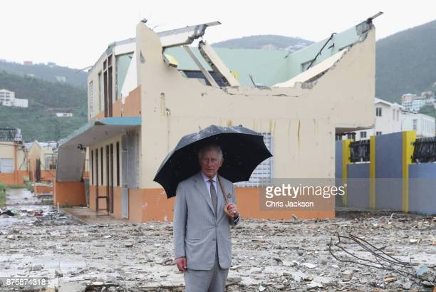 Prince Charles Prince of Wales view the destroyed landscape left by the hurricane on November 18 2017 in Codrington Barbuda The Prince of Wales is on...