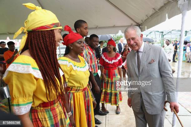 Prince Charles Prince of Wales visit residents on November 17 2017 in Codrington Barbuda The Prince of Wales is on a three day visit to the Caribbean...