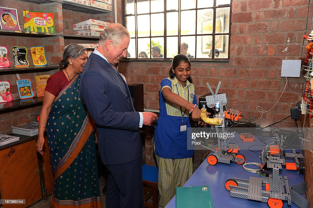 Prince Charles, Prince of Wales visits a ICT Robotic and Science class at Katha School during day 3 of an official visit to India on November 8, 2013 in Delhi, India. This will be the Royal couple's third official visit to India together and their most extensive yet, which will see them spending nine days in India and afterwards visiting Sri Lanka in order to attend the 2013 Commonwealth Heads of Government Meeting.