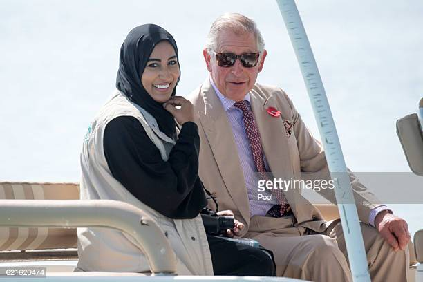 Prince Charles Prince of Wales visits Bu Tinah island with with Dr Shakha Salem al Dhahen Director of Marine Biodiversity on the second day of a...