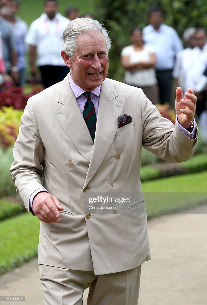 Prince Charles, Prince of Wales visits Kandy Botanical Gardens on Day 3 of a visit to Sri Lanka on November 16, 2013 in Kandy, Sri Lanka. The Royal couple are visiting Sri Lanka in order to attend the 2013 Commonwealth Heads of Government Meeting. Prince Charles, representing the Queen will open the meeting.