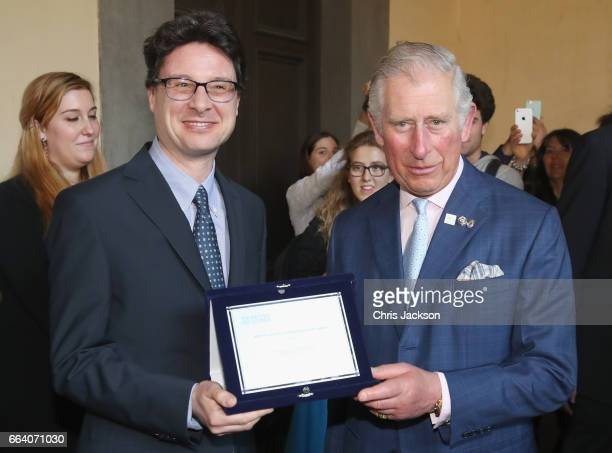 Prince Charles Prince of Wales visits Palazzo Strozzi and unveils a sculpture by Henry Moore to mark the Centenary of the British Institute in...
