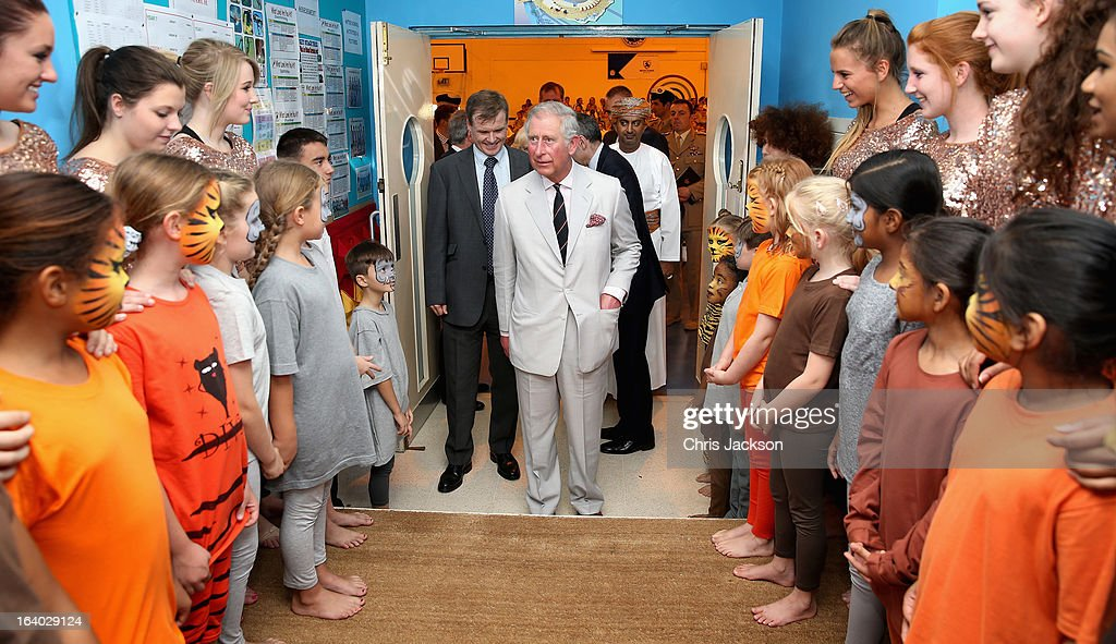 <a gi-track='captionPersonalityLinkClicked' href=/galleries/search?phrase=Prince+Charles&family=editorial&specificpeople=160180 ng-click='$event.stopPropagation()'>Prince Charles</a>, Prince of Wales visits the British School in Muscat on the ninth day of a tour of the Middle East on March 19, 2013 in Muscat, Oman. The Royal couple are on the fourth and final leg of a tour of the Middle East taking in Jordan, Qatar, Saudia Arabia and Oman.