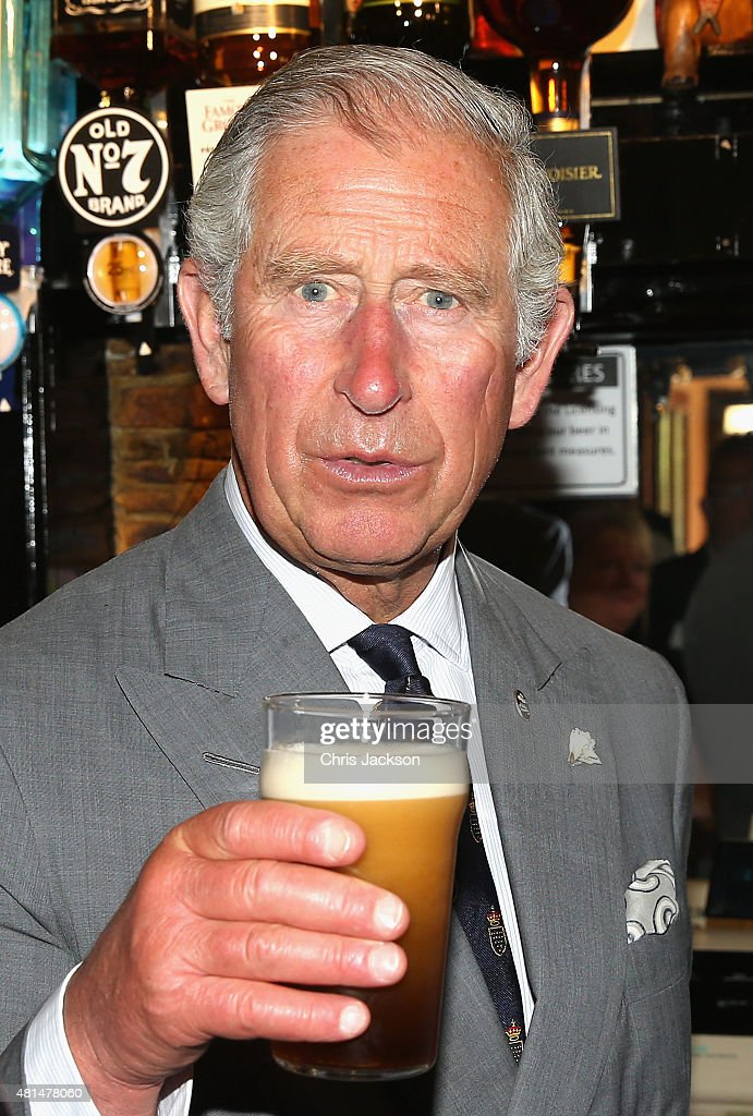 Prince Charles, Prince of Wales visits The Falmouth Arms as part of his 'Pub is the Hub' Initiative on July 20, 2015 in Truro, England.