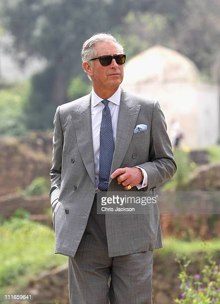 Prince Charles Prince of Wales visits the historic site of Chellah on day two of a three day visit to Morocco on April 5 2011 in Rabat Morocco...