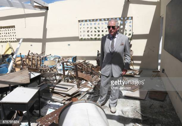 Prince Charles Prince of Wales visits the Holy Trinity School on November 18 2017 in Codrington Barbuda The Prince of Wales is on a three day visit...