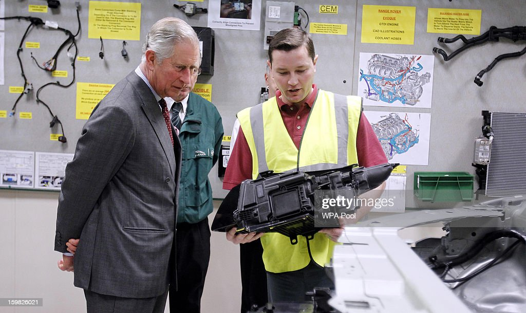 <a gi-track='captionPersonalityLinkClicked' href=/galleries/search?phrase=Prince+Charles&family=editorial&specificpeople=160180 ng-click='$event.stopPropagation()'>Prince Charles</a>, Prince of Wales visits the Jaguar Land Rover Halewood Operations Centre on January 21, 2013 near Liverpool, Merseyside, England. <a gi-track='captionPersonalityLinkClicked' href=/galleries/search?phrase=Prince+Charles&family=editorial&specificpeople=160180 ng-click='$event.stopPropagation()'>Prince Charles</a> is carrying out a series of engagements in the North West to celebrate British manufacturing and engineering.