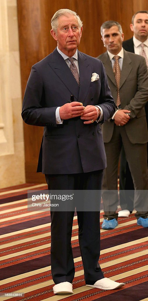 Prince Charles, Prince of Wales visits the King Hussein Mosque on the second day of a visit to the country on March 12, 2013 in Amman, Jordan. The Royal couple are on the first leg of a tour of the Middle East taking in Qatar, Saudia Arabia and Oman.