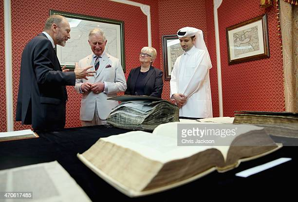 Prince Charles Prince of Wales visits the National Library on February 20 2014 in Doha Qatar The Prince is on a three day solo visit to Qatar...