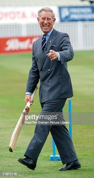 Prince Charles Prince of Wales visits the Prince's Trust twelve week cricketing programme at Edgbaston on September 12 2006 in Birmingham EnglandThe...