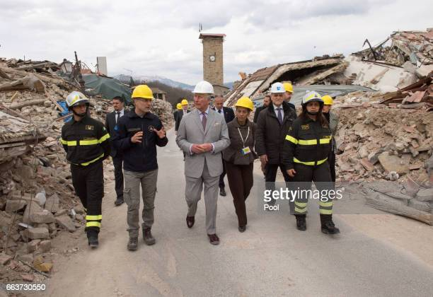 Prince Charles Prince of Wales visits the ruins of Amatrice the town devastated by a 60 magnitude earthquake and where 297 people died last summer on...