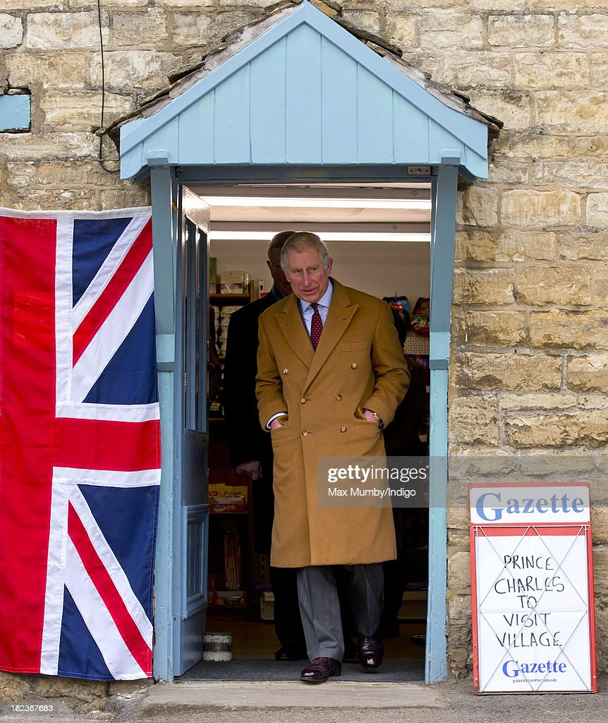 Prince Charles, Prince of Wales visits the Uley Community Stores and Post Office whilst on a day of engagements in Gloucestershire on February 22, 2013 in Uley, Gloucestershire, England.