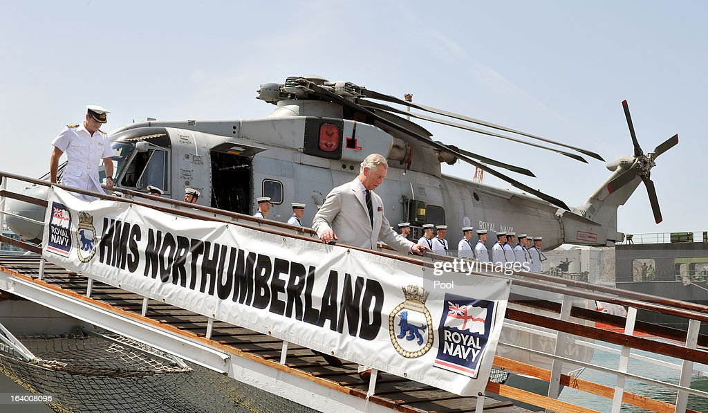 <a gi-track='captionPersonalityLinkClicked' href=/galleries/search?phrase=Prince+Charles&family=editorial&specificpeople=160180 ng-click='$event.stopPropagation()'>Prince Charles</a>, Prince of Wales walks down the gangplank of HMS Northumberland during a visit to the Type 23 Frigate, docked in the port on March 19, 2013 in Muscat, Oman. The Royal couple are on the fourth and final leg of a tour of the Middle East taking in Jordan, Qatar, Saudia Arabia and Oman.