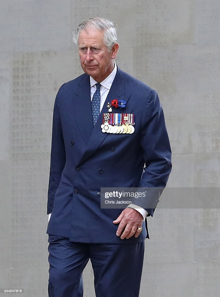 <a gi-track='captionPersonalityLinkClicked' href=/galleries/search?phrase=Prince+Charles+-+Prince+of+Wales&family=editorial&specificpeople=160180 ng-click='$event.stopPropagation()'>Prince Charles</a>, Prince of Wales walks past names on the Thiepval Memorial during Somme Centenary Commemorations on July 1, 2016 in Thiepval, France. Today marks exactly 100 years since the beginning of the battle of the Somme.