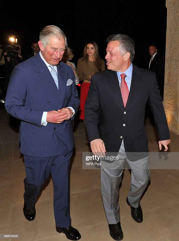 Prince Charles, Prince of Wales walks with King Abdullah of Jordan, as they arrive for a private dinner on March 11, 2013 in Amman, Jordan. Prince Charles, the Prince of Wales and Camilla, Duchess of Cornwall are on a nine day tour of the Middle East, during which they are visiting Jordan, Qatar, Saudi Arabia and Oman.