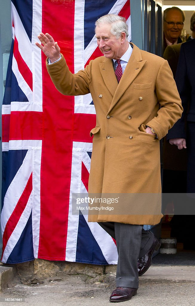 <a gi-track='captionPersonalityLinkClicked' href=/galleries/search?phrase=Prince+Charles+-+Prince+of+Wales&family=editorial&specificpeople=160180 ng-click='$event.stopPropagation()'>Prince Charles</a>, Prince of Wales waves as he visits the Uley Community Stores and Post Office whilst on a day of engagements in Gloucestershire on February 22, 2013 in Uley, Gloucestershire, England.