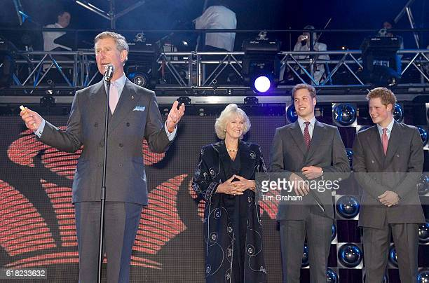 Prince Charles Prince of Wales with Camilla Duchess of Cornwall Prince William and Prince Harry at the live pop concert to mark the 30th Anniversary...