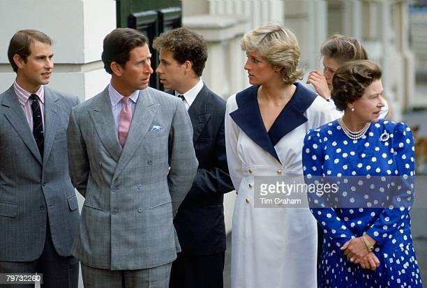 Prince Charles Prince of Wales with Diana Princess of Wales and Queen Elizabeth II outside Clarence House
