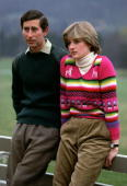 Prince Charles Prince of Wales with his fiance Lady Diana Spencer during a photocall before their wedding while staying at Craigowan Lodge on the...