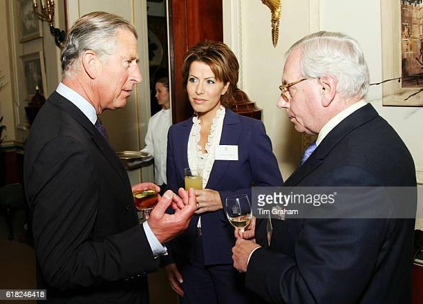 Prince Charles Prince of Wales with Natasha Kaplinsky and David Starkey at a reception for the Royal Television Society at Clarence House