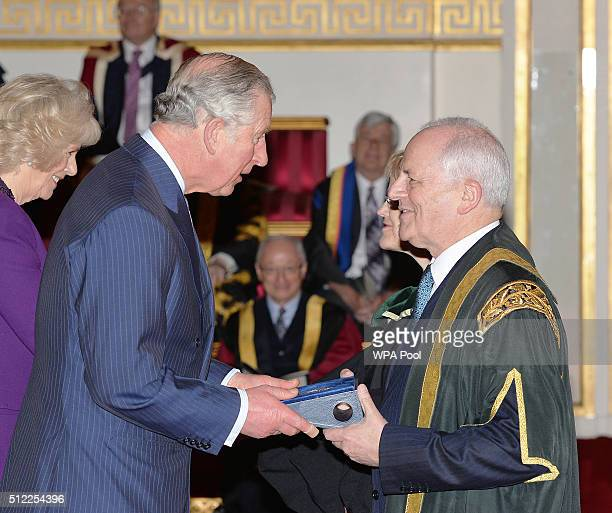 Prince Charles Prince of Wales with Professor Brian Cantor of the University of Bradford during the presentation of The Queen's Anniversary Prizes...