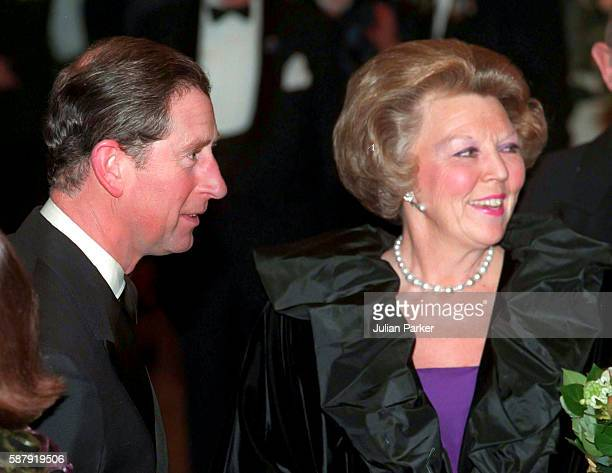 Prince Charles Prince of Wales with queen Beatrix of The Netherlands attend a Ballet performance at The Muziek Theater in Amsterdam as part of The...