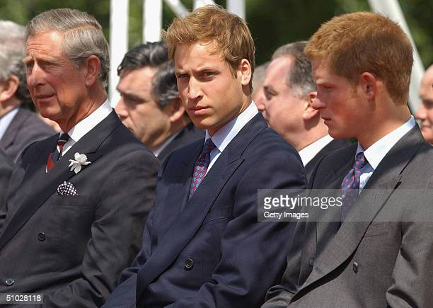 HRH Prince Charles Prince William and Prince Harry look on at the opening of a fountain built in memory of Diana Princess of Wales on July 6 2004 in...