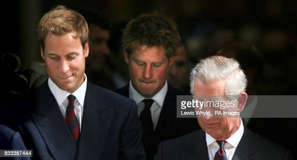 Prince Charles Princes William and Harry leave the Service of Thanksgiving for the life of Diana Princess of Wales at the Guards' Chapel London