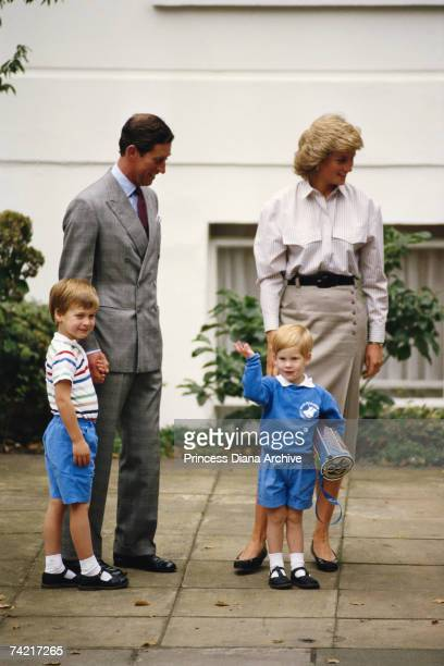 Prince Charles Princess Diana and Prince William accompanying Prince Harry on his first day at Mrs Mynor's nursery school London 16th September 1987