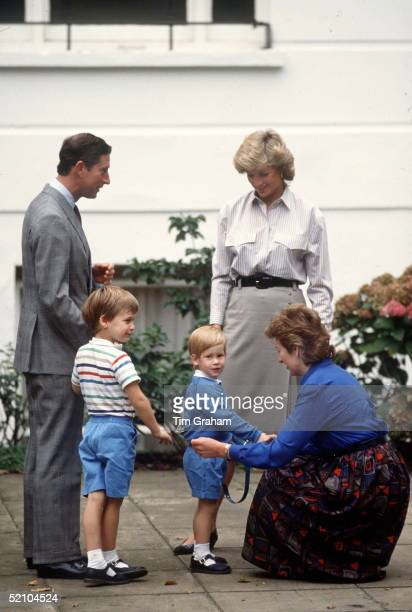 Prince Charles Princess Diana And Prince William Deliver Prince Harry To Mrs Mynor's Nursery School On His First Day