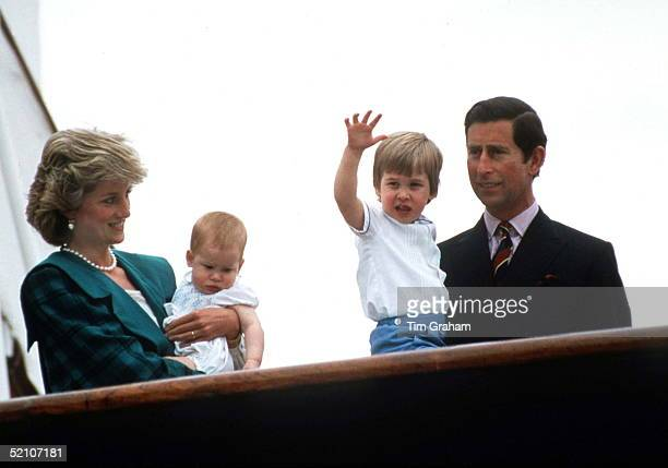 Prince Charles Princess Diana Prince William And Prince Harry On The Royal Yacht Britannia