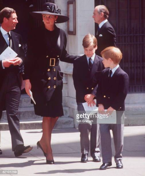 Prince Charles Princess Diana Prince William And Prince Harry Attending The Memorial Service For Her Father Earl Spencer At Stmargarets Westminster...