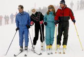 Prince Charles Princess Diana The Duchess Of York And The Duke Of York On Holiday In Klosters