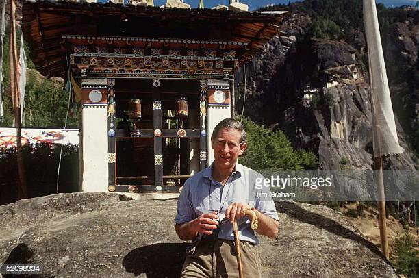 Prince Charles Resting Outside A Prayer Hut During His Trek In The Himalayas In Bhutan