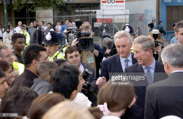 Prince Charles Talking To Members Of The Crowd Which Has Gathered Outside The Suleymaniye Mosque A Turkish Islamic Cultural Centre In East London The...