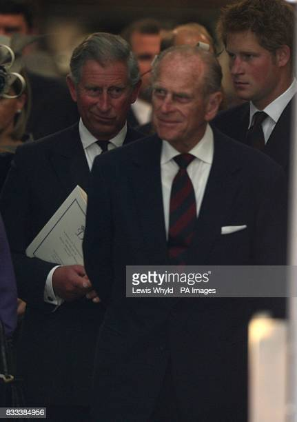 Prince Charles the Duke of Edinburgh and Prince Harry leave the Service of Thanksgiving for the life of Diana Princess of Wales at the Guards' Chapel...