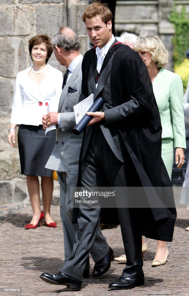 Prince Charles the Prince of Wales and Camilla Duchess of Cornwall accompany Prince William from the graduation ceremony at St Andrew's University...