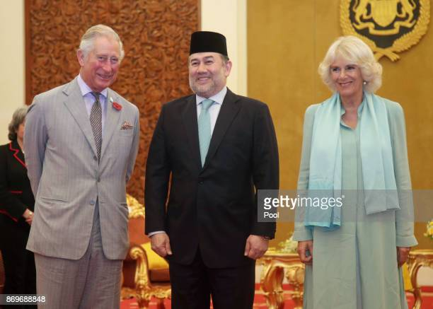 Prince Charles The Prince of Wales and Camilla Duchess of Cornwall meet with His Majesty The Yang diPertuan Agong XV Sultan Muhammad V for a...