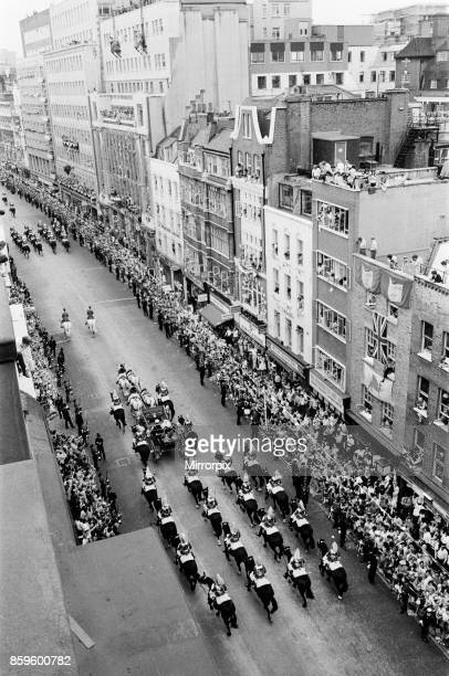 Prince Charles The Prince of Wales and his bride The Princess of Wales Lady Diana Spencer ride by open top carriage down Fleet Street towards...